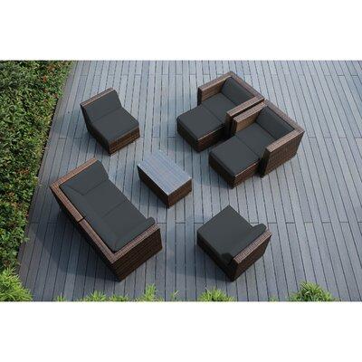 Ohana 9 Piece Deep Seating Group with Cushions Fabric: Dark Gray