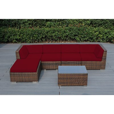 Ohana 6 Piece Deep Seating Group with Cushion Fabric: Red, Finish: Mixed Brown