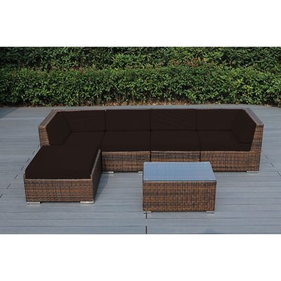 Ohana 6 Piece Deep Seating Group with Cushion Fabric: Brown, Finish: Mixed Brown