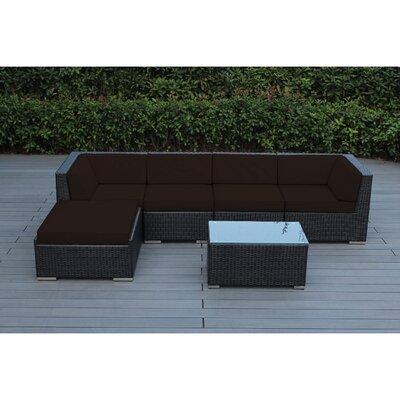 Ohana 6 Piece Deep Seating Group with Cushion Fabric: Brown, Finish: Black