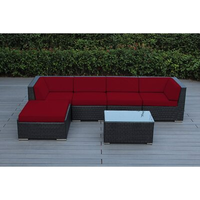 Ohana 6 Piece Deep Seating Group with Cushion Fabric: Red, Finish: Black