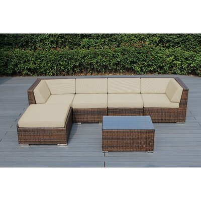Ohana 6 Piece Deep Seating Group with Cushion Fabric: Sunbrella Antique Beige, Finish: Mixed Brown