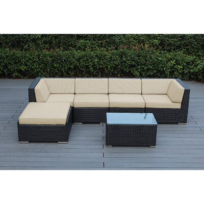 Ohana 6 Piece Deep Seating Group with Cushion Fabric: Beige, Finish: Black