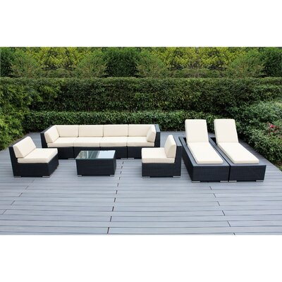 Ohana 9 Piece Seating Set with Chaise Lounges Fabric: Beige, Finish: Black