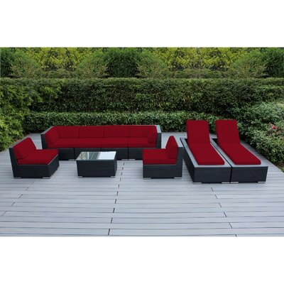 Ohana 9 Piece Seating Set with Chaise Lounges Fabric: Red, Finish: Black