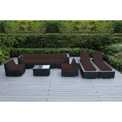 Ohana 9 Piece Seating Set with Chaise Lounges Fabric: Brown, Finish: Black