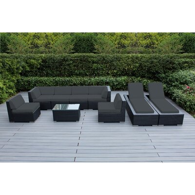 Ohana 9 Piece Seating Set with Chaise Lounges Fabric: Dark Gray, Finish: Black