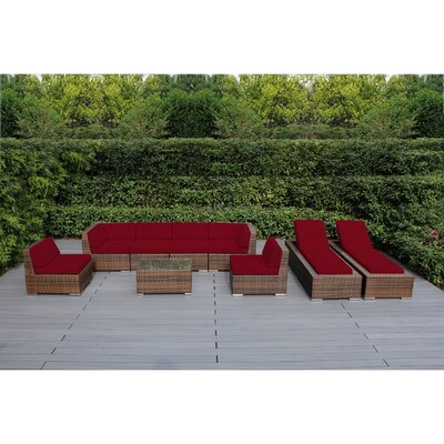 Ohana 9 Piece Seating Set with Chaise Lounges Fabric: Red, Finish: Mixed Brown