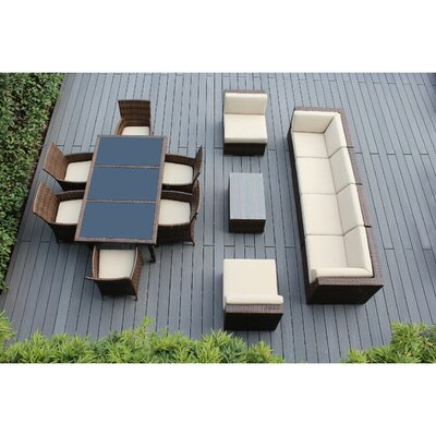 Ohana 14 Piece Sofa and Dining Set Fabric: Beige, Finish: Mixed Brown