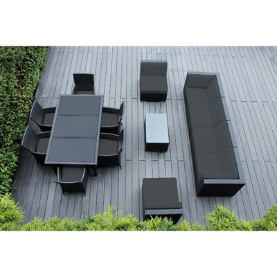 Ohana 14 Piece Sofa and Dining Set Fabric: Dark Gray, Finish: Black