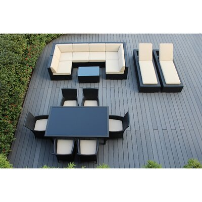 Ohana 16 Piece Seating Dining and Chaise Lounge Set Fabric: Dark Gray, Finish: Mixed Brown