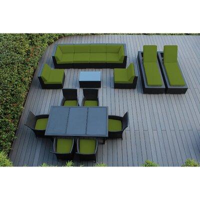 Ohana 16 Piece Seating Dining and Chaise Lounge Set Fabric: Sunbrella Macaw, Finish: Black