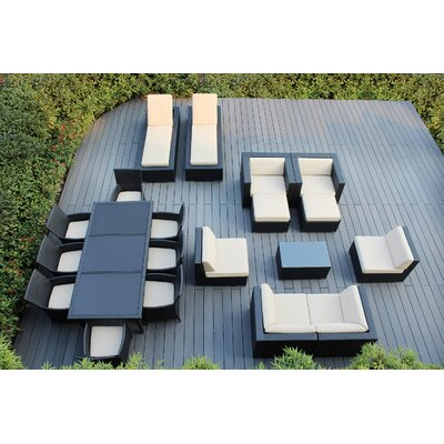 Ohana 20 Piece Seating Dining and Chaise Lounge Set Fabric: Dark Gray, Finish: Black