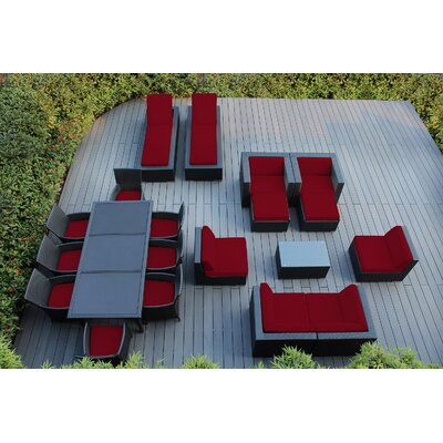 Ohana 20 Piece Seating Dining and Chaise Lounge Set with Cushions Fabric: Sunbrella Jockey Red, Finish: Black