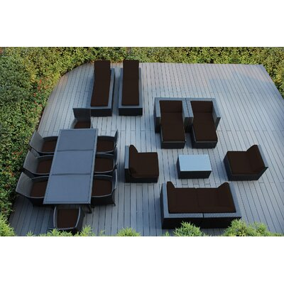 Ohana 20 Piece Seating Dining and Chaise Lounge Set with Cushions Fabric: Sunbrella Bay Brown, Finish: Black