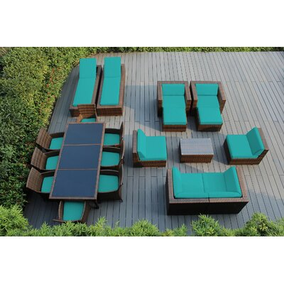 Ohana 20 Piece Seating Dining and Chaise Lounge Set with Cushions Fabric: Sunbrella Aruba, Finish: Mixed Brown