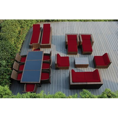 Ohana 20 Piece Seating Dining and Chaise Lounge Set with Cushions Fabric: Sunbrella Jockey Red, Finish: Mixed Brown
