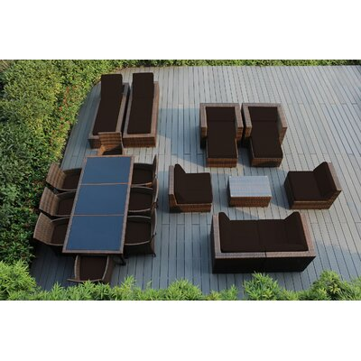 Ohana 20 Piece Seating Dining and Chaise Lounge Set with Cushions Fabric: Sunbrella Bay Brown, Finish: Mixed Brown