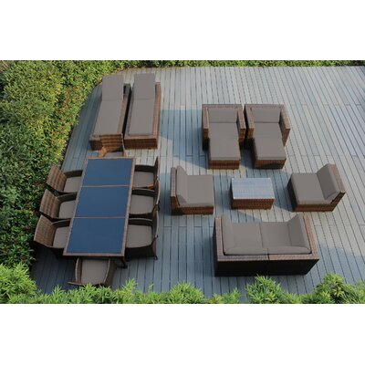 Ohana 20 Piece Seating Dining and Chaise Lounge Set with Cushions Fabric: Sunbrella Taupe, Finish: Mixed Brown