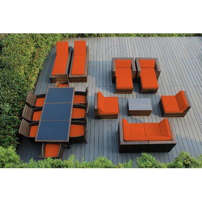 Ohana 20 Piece Seating Dining and Chaise Lounge Set with Cushions Fabric: Sunbrella Tuscan, Finish: Mixed Brown