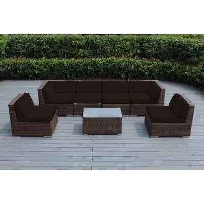 Ohana 7 Piece Deep Seating Group with Cushion Fabric: Subrella Bay Brown, Finish: Mixed Brown