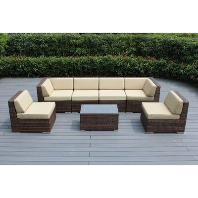 Ohana 7 Piece Deep Seating Group with Cushion Fabric: Beige, Finish: Mixed Brown