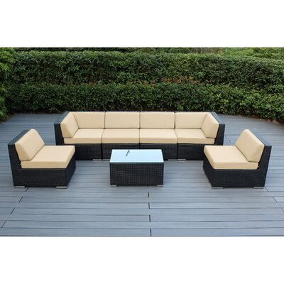 Ohana 7 Piece Deep Seating Group with Cushion Fabric: Sunbrella Antique Beige, Finish: Black