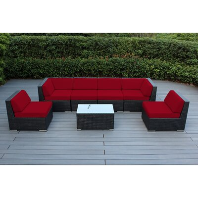 Ohana 7 Piece Deep Seating Group with Cushion Fabric: Red, Finish: Black