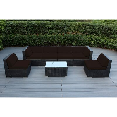 Ohana 7 Piece Deep Seating Group with Cushion Fabric: Brown, Finish: Black