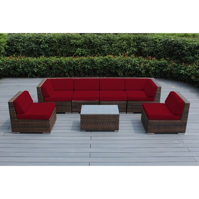 Ohana 7 Piece Deep Seating Group with Cushion Fabric: Red, Finish: Mixed Brown