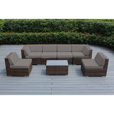 Ohana 7 Piece Deep Seating Group with Cushion Finish: Mixed Brown, Fabric: Sunbrella Taupe
