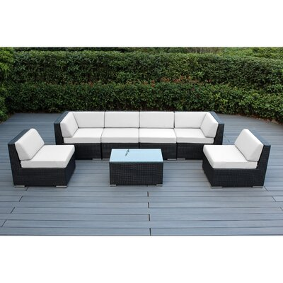 Ohana 7 Piece Deep Seating Group with Cushion Finish: Black, Fabric: Sunbrella Natural