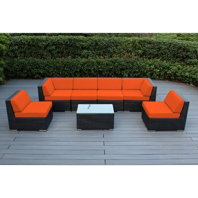 Ohana 7 Piece Deep Seating Group with Cushion Finish: Black, Fabric: Sunbrella Tuscan
