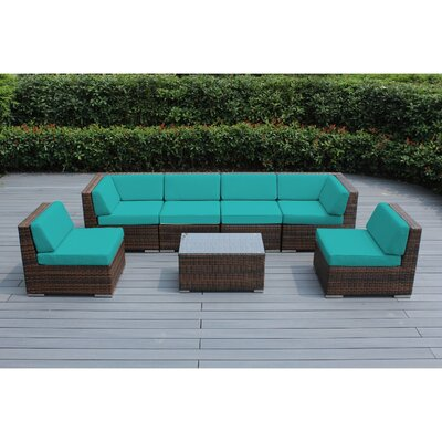 Ohana 7 Piece Deep Seating Group with Cushion Finish: Mixed Brown, Fabric: Turquoise
