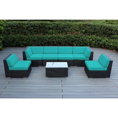 Ohana 7 Piece Deep Seating Group with Cushion Finish: Black, Fabric: Turquoise