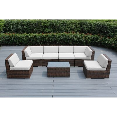 Ohana 7 Piece Deep Seating Group with Cushion Finish: Mixed Brown, Fabric: Sunbrella Natural