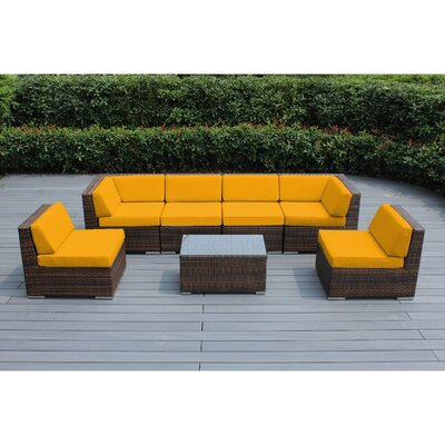 Ohana 7 Piece Deep Seating Group with Cushion Finish: Mixed Brown, Fabric: Sunbrella Sunflower Yellow