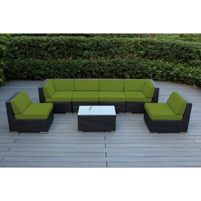Ohana 7 Piece Deep Seating Group with Cushion Fabric: Sunbrella Jockey Red, Finish: Mixed Brown
