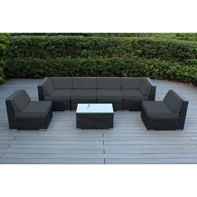 Ohana 7 Piece Deep Seating Group with Cushion Finish: Black, Fabric: Dark Gray