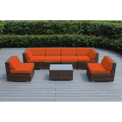 Ohana 7 Piece Deep Seating Group with Cushion Finish: Mixed Brown, Fabric: Sunbrella Tuscan