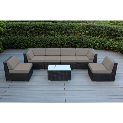 Ohana 7 Piece Deep Seating Group with Cushion Finish: Black, Fabric: Sunbrella Taupe