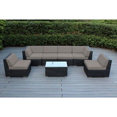 Ohana 7 Piece Deep Seating Group with Cushion Finish: Black, Fabric: Sunbrella Taupe