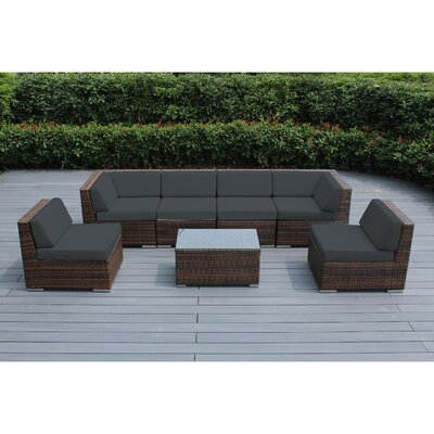Ohana 7 Piece Deep Seating Group with Cushion Finish: Mixed Brown, Fabric: Dark Gray