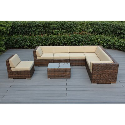 Ohana 8 Piece Seating Group with Cushions Fabric: Beige