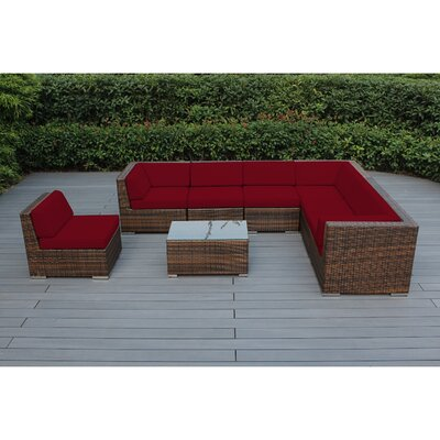 Ohana 8 Piece Seating Group with Cushions Fabric: Sunbrella Jockey Red