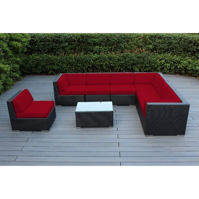Ohana 8 Piece Seating Group with Cushions Fabric: Red