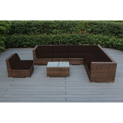 Ohana 8 Piece Seating Group with Cushions Fabric: Brown