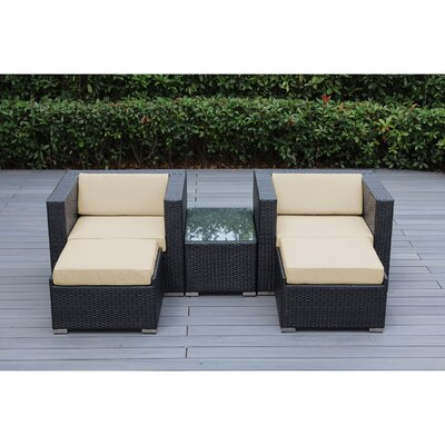 Ohana 5 Piece Deep Seating Set with Cushion Fabric: Red, Finish: Mixed Brown