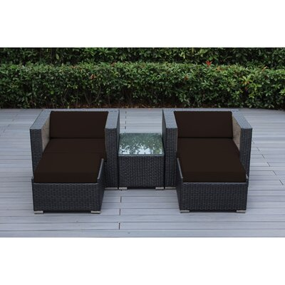 Ohana 5 Piece Deep Seating Set with Cushion Fabric: Sunbrella Bay Brown, Finish: Black