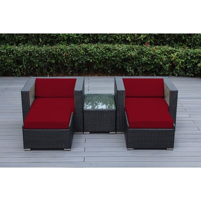 Ohana 5 Piece Deep Seating Set with Cushion Fabric: Sunbrella Jockey Red, Finish: Black
